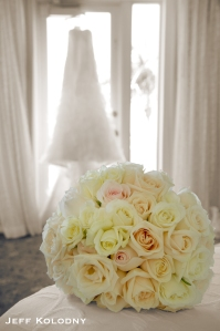 The dress & bouquet awaiting their Bride.